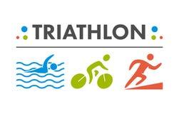 Vector cool logo for triathlon. Stock Photos