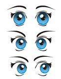 Vector cool realistic cartoon eyes. White isolated cool realistic cartoon eyes with expression Royalty Free Stock Images