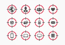 Vector Target On Person Assassin Icon Set. Targeting Composite Icons With Audience, World, Men, Group Of People, Heart, Money, Cre royalty free illustration