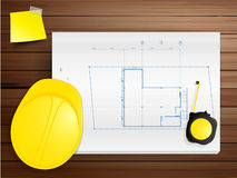 Vector copy space working tool hard hat with bluep. Copy space working tool hard hat with blueprints on wood texture background, Vector illustration template vector illustration