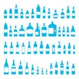 Vector cor azul ajustada do ícone das garrafas e dos vidros ilustração royalty free