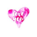 Vector corações cor-de-rosa do Watercolour amam-no no fundo branco Elemento romântico para envolver, tecido, cartões Imagem de Stock