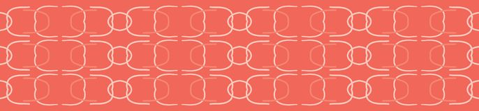 Vector Coral Abstract Curved Mid Century Modern Style Lines. Seamless Repeat Border. Geometric Shapes Banner. Trendy Summer Fashion Ribbon Trim, Peach Fabric vector illustration