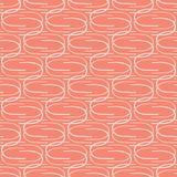 Vector Coral Abstract Curved Mid Century Modern Style Lines. Seamless Repeat Pattern. Geometric Shapes Background. Trendy Summer Fashion Print, Peach Fabric stock illustration