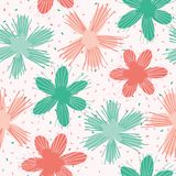 Vector Coral Flowers SprinkleSeamless Repeat Pattern. Floral Confetti Circles 1950s. Style Background. Modern Trendy Summer Fashion Print, Fabric Textile vector illustration