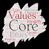 Vector core values integrity ethics paint brush. Vector conceptual core values integrity ethics paint brush paper concept word cloud isolated background. Collage Stock Image