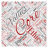 Vector core values integrity ethics square. Vector conceptual core values integrity ethics square red concept word cloud isolated background. Collage of honesty Stock Images