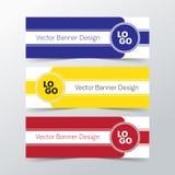 Vector cores da árvore do fundo da bandeira do projeto em amarelo e vermelho azuis Foto de Stock Royalty Free