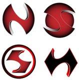 Vector cores relacionadas com o mercado dos ícones do logotype do jogo 3D, as vermelhas e as pretas ilustração royalty free
