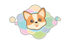 Vector Corgi Head. Vector illustration Dog `s head in cartoon style Royalty Free Illustration