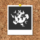 Vector cork board with instant photo card and Animals around planet Earth Royalty Free Stock Photography