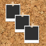 Vector cork board with photo cards fixed by an adhesive tape Royalty Free Stock Images