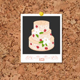 Vector corkboard with instant photo card and wedding cake Royalty Free Stock Image