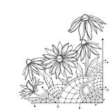 Vector corner bunch with outline Rudbeckia hirta or black-eyed Susan flower, ornate leaf and bud in black isolated on white. stock illustration