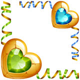 Vector Corner Vignette. Green and Blue Jewel Hearts Royalty Free Stock Photo
