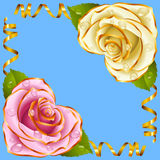 Vector Corner vignette. Pink and White Rose and Golden Ribbons. Corner vignette from the Rose Heart and Swirl Ribbons. Pink and White Flowers with Gold Trim and royalty free illustration