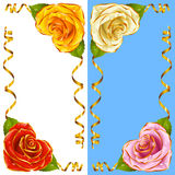 Vector Corner vignette set. Rose Hearts and Golden Ribbons Royalty Free Stock Image