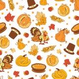 Vector Cornucopia Thanksgiving Pumpkin Turkey Corn. Seamless Pattern graphic design Royalty Free Stock Image