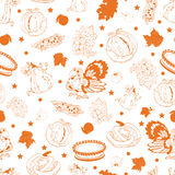 Vector Cornucopia Thanksgiving Pumpkin Turkey Corn. Seamless Pattern graphic design Royalty Free Stock Photography