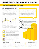 Vector corporate business template infographic with yellow graph Stock Image