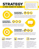 Vector corporate business template infographic with yellow speec Royalty Free Stock Photo