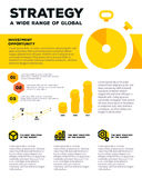 Vector corporate business template infographic with yellow stopw Stock Images