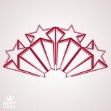 Vector corporate design element, celebrative perspective stars w. Eb emblem. Union and solidarity theme – eps8 3d heraldic object. Festive aristocratic symbol Royalty Free Stock Image