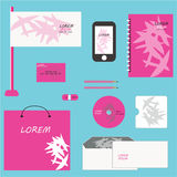 Vector corporate identity design. Pink abstract geometric palm leaves combination. Business stationery set Royalty Free Stock Images
