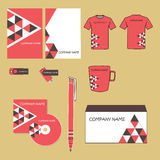 Vector corporate identity design. Red and brown geometric triangle shapes pyramid. business documentation Stock Images
