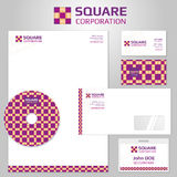 Vector corporate identity templates with square abstract logo Royalty Free Stock Images