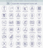 Vector Corporate managment outline icon set. Elegant thin line style design. Vector Corporate managment outline icon set. Elegant thin line style design Royalty Free Stock Image