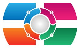 Vector corporativo del Información-gráfico del flujo de proceso de 4 pasos Foto de archivo libre de regalías