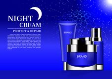 Vector cosmetic ads, night cream with starry night background an. D template Royalty Free Stock Photos