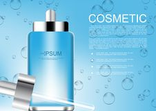 Vector cosmetic ads serum with template on blue water drops back. Ground Royalty Free Stock Images