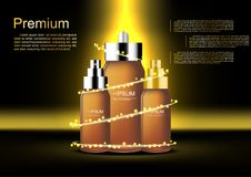 Vector cosmetic ads set of serum bottles with abstract gold ligh Stock Image