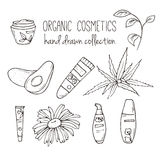 Vector cosmetic bottles. Organic cosmetics illustration. Doodle skin care items. Herbal hand drawn set. Spa elements in Stock Photos