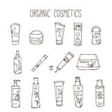 Vector cosmetic bottles. Organic cosmetics illustration. Doodle skin care items. Herbal hand drawn set. Spa elements in