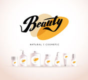Vector cosmetic insignia isolated on white background. Royalty Free Stock Photography