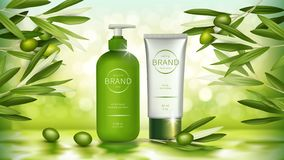 Vector poster with organic olive cosmetics. Vector cosmetic realistic poster. Green bottle with dispenser and white tube with organic cosmetics, natural product stock illustration