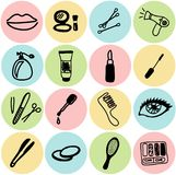 Vector cosmetics icons. Vector cosmetics and beauty icons Stock Images