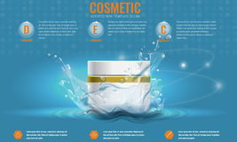 Vector Cosmetics product advertising template with water splash. Royalty Free Stock Images