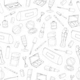 Vector cosmetics seamless pattern with bottles, lacquer, lipstick, eye shadows, mascara and powder on the white background. Hand royalty free illustration