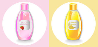 Vector Cosmetics set package. Hydration shampoo fruits fragrance. Perfect for advertising, flyer, banner, poster. Pink. Yellow color 2d illustrations Royalty Free Stock Images