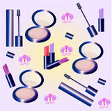 Vector Cosmetics set pattern. Floral Perfume collection, mascara, blush, lipstick, lip balm. Perfect for advertising Stock Images