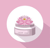 Vector Cosmetics waterlily flower cream package icons. Hydration lotion. Perfect for advertising, flyer, banner, poster Stock Images