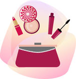 Vector cosmetics with women handbag Royalty Free Stock Photography