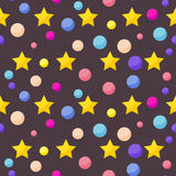 Vector cosmic pattern background with funny drawing bright plane Royalty Free Stock Photography