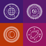 Vector cosmic signs and line icons Stock Image