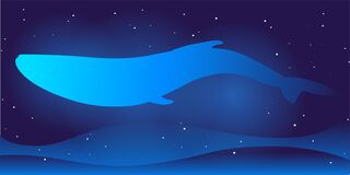 Vector Cosmos Illustration on gradient dark blue backgroud with constellation of stars, waves, whale and glowing. Template For web