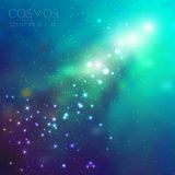 Vector cosmos illustration with stars and galaxy. On dark background Stock Photography